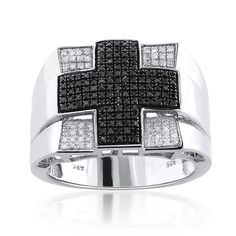 Cross Rings: This Unique Mens White and Black Diamond Ring in Sterling Silver weighs approximately 10 grams and showcases 1.00 carat of sparkling round diamonds, featuring a trendy design and a highly polished gold finish.