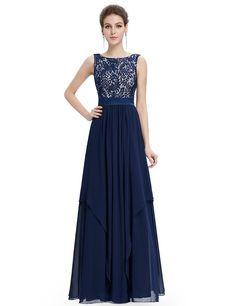 Long Simple Cheap Chiffon Lace Navy Blue Prom Dresses Gown 2016 Formal Evening Dress Graduation Party Dress Plus Size