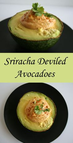 Sriracha Deviled Avocadoes - Here is a new twist on an old classic. These vegan avocadoes can be an appetizer or a meal - they are so filling.