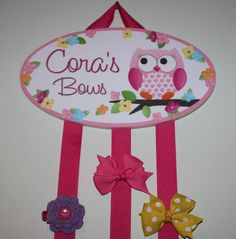 HAIR BOW HOLDER - Personalized Owls Love Flowers HairBow Holder - Bows and Clippies Organizer - Girls Personal Hair Bow and Clip Hanger on Etsy, $18.00