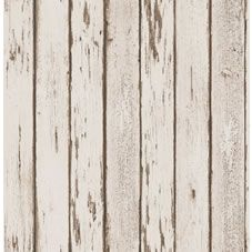 No need to break the bank on expensive wood cladding: give your home a modern, contemporary feel with this wallpaper in a distressed wood effect. <br><br>Luxury heavyweight wallpaper. Washable and peelable. Coverage: 5.2msp with a pattern match of 53cm. Size:  10.05m x 52cm.  Application method: paste the paper.