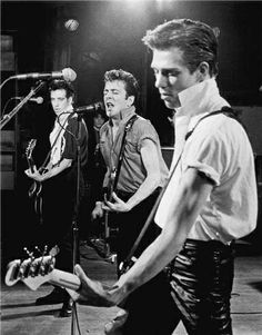 (L-R) Mick Jones, Joe Strummer and Paul Simonon of The Clash on stage at The Warfield in San Francisco, CA. March 1st or 2nd 19...