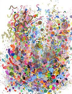 "Jen Stark. Elementary Particles / 26"" x 34"" / felt-tip pen on paper / 2011"