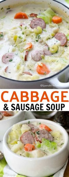 Warm your belly from the inside out with a bowl of easy Sausage & Cabbage Soup! A beautifully luscious soup with smoky sausage, fresh vegetables and of course sweet tender cabbage simmered in a flavorful creamy broth. Crock Pot Recipes, Cooker Recipes, Cabbage And Sausage, Cabbage Soup Recipes, Creamy Cabbage Soup Recipe, Cabbage Meals, Potato Recipes, Sausage Soup, Soup And Sandwich