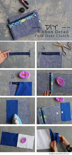 DIY.. Folder Over Clutch With Ribbon Detail. Perfect gift for a friend who has it all. Add ribbon to a simple fold over clutch. Tutorial on www.haberdasheryfun.com