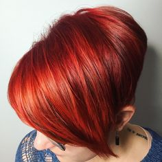 Red and orange tones  Short cut with long fringe  @_hairbyines_