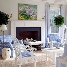 sala azul e branco