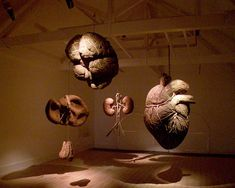 ORGANS (installation view) by Dimitri Tsykalov (2002-2005)    Wood, bark, and soil.