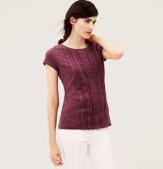Pleated Lace Front Cotton Tee | Loft