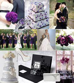 Black-purple-silver color theme Svart-lila-silver färgtema på bröllop