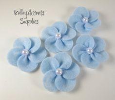 Baby Blue Felt Flowers