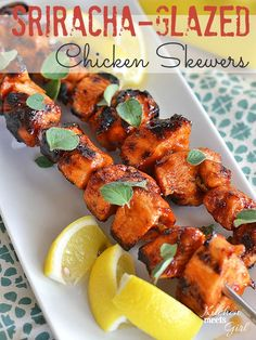 If you grill one thing this summer, grill these Sriracha-Glazed Chicken Skewers!