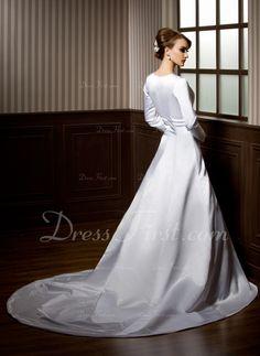 Vestidos princesa/ Formato A Decote redondo Cauda longa Cetim Vestido de noiva com Bordado Apliques de (002011703)