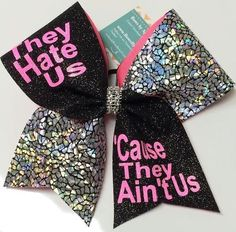 Bows by April - They Hate Us 'Cause They Ain't Us Black Glitter and Silver Crackle Cheer Bow, $17.00 (http://www.bowsbyapril.com/they-hate-us-cause-they-aint-us-black-glitter-and-silver-crackle-cheer-bow/)