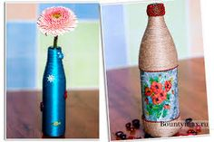 Картинки по запросу ваза из бутылки своими руками