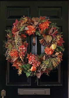 Vibrantly welcome fall into your home with the stunning Autumn Mix Wreath that boasts a variety of bold fall foliage.