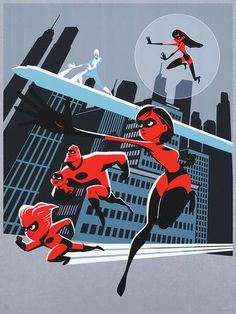 In honor of next week's release of the Pixar sequel, Gallery Nucleus has unveiled their new line-up of Incredibles 2 artwork, and it's now for sale at Cyclops Print Shop. Disney Pixar, Disney Incredibles, Film Disney, Disney Marvel, Disney Fan Art, Disney Animation, Disney And Dreamworks, Disney And More, Disney Love