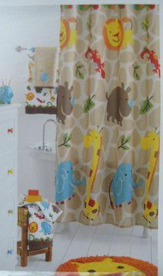 Great Jumping Beans Safari Fabric Shower Curtain Jungle Animals Giraffe Print New