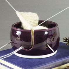 Bright eggplant purple Knitting Bowl, Yarn Bowl, Yarn holder by BlueRoomPottery IN STOCK by BlueRoomPottery | BlueRoomPottery... plus (+)