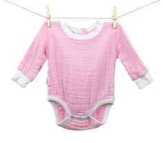 Pink Long Sleeve Bodysuit made in the USA from the best organic muslin cotton