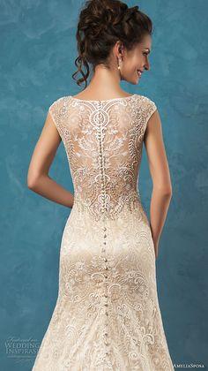 amelia sposa 2017 bridal sleeveless wide lace strap v neck fully embellished gorgeous beautiful a  line lace wedding dress lace illusion back chapel train (adele) zbv