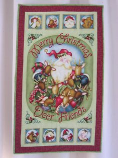 Merry Christmas Deer Friends Machine Quiled Wall by GailsStitches
