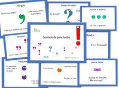 Semne de punctuatie - postere zambarete - EmaLaScoala School Lessons, Doula, Homeschool, Chart, Beautiful, Rome, Homeschooling