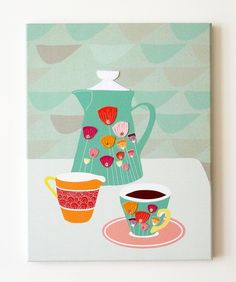 Laura Amiss  Amstelveen, North Holland,  Netherlands   Coffee Time - Retro styled stitched canvas print