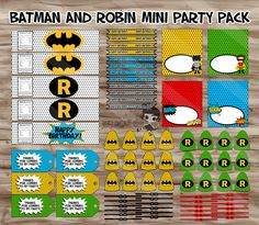 Batman and Robin Birthday Party Pack, Batman Water Bottle Wrapper, Straw Flags, Lollipops, Thank You Tags - Digital JPGs INSTANT DOWNLOAD on Etsy, $5.00