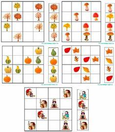 PETIT MON: SUDOKUS de TARDOR, models de castanyera, arbres, fulles, carbasses i bolets.