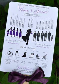 Silhouette Wedding Program Fans, Purple. Many Color & Design Options!