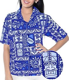 HAWAIIAN CASUAL FLORAL PRINTED V NECK POINT COLLAR WOMEN SHIRTS 1884 R_Blue M. Do YOU want blouse in other colors Like Red | Pink | Orange | Violet | Purple | Yellow | Green | Turquoise | Blue | Teal | Black | Grey | White | Maroon | Brown | Mustard | Navy ,Please click on BRAND NAME LA LEELA above TITLE OR Search for LA LEELA in Search Bar of Amazon To get COMFORTABLE FIT and Right SIZE FOR YOU, request you to view SIZE CHART See LA LEELA's SIZE IMAGE in Product Image on the left. SAVE…