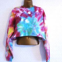 New Reworked Tie Dye Jumper Sweater Crop Top Grunge Hipster Slouchy 8 10 12 Crop Top Sweater, Jumper, Tie Dye Crop Top, Cardigans For Women, Grunge, Hipster, Crop Tops, Sweatshirts, Long Sleeve