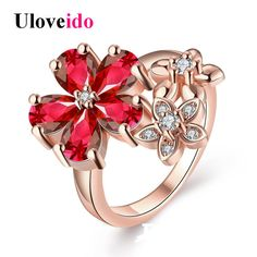 Uloveido 15% Off Rose Gold Color Flower Wedding Costume Jewelry Rings for Women Ring with Stones Bague Femme Crystal Punk R386