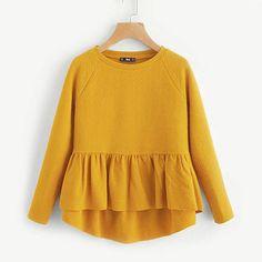 Half Sleeve Yellow Ruffle Top