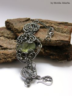 Meriel- wire wrapped bracelet with labradorite, sterling and fine silver, handmade, wirework on Etsy, $215.29