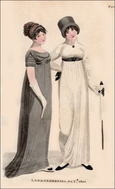 """""""A dress of black crape over white sarsnet, the dress made very long, and trimmed and ornamented with black velvet and bugles; a tucker of the same, drawn over the bosom ..."""""""