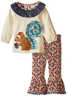 f48134368 Mud Pie Baby-Girls Newborn Squirrel Tunic and Legging Set, Red/Multi, 0-6  Months