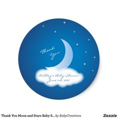 Thank You Moon and Stars Baby Shower - Blue/White