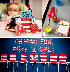 Imagine that! Cat in the Hat! Dr. Seuss themed 1st Birthday Party.