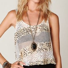 Free People Itsy Bitsy Glitsy tank Sheer see through. Gorgeous top. Oversized but so cute !! Free People Tops Tank Tops