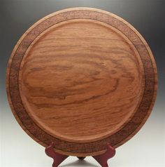 "Brazilian Cherry (Jatoba) Platter, textured and burned rim, 18"" dia., by Jerry Prosise."