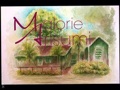 Camp 5 home Puunene Hawaii Watercolor