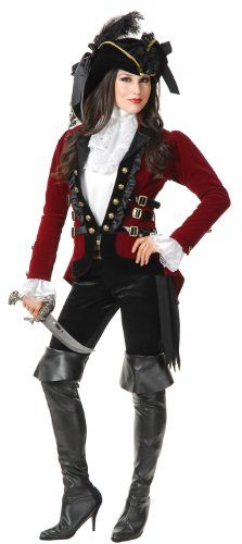 Charades Pirate Lady Adult Costume Red, Black - Small - Click image twice for more info - See a larger selection womens  pirate costume at  http://costumeriver.com/product-category/womens-pirate-costume/ - womens, holiday costume , event costume , halloween costume, cosplay costume, classic costume, scary costume, pirate, classic costume, clothing