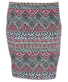 Blue Pattern (Blue) Inspire Pink and Blue Aztec Tube Skirt | 251793949 | New Look