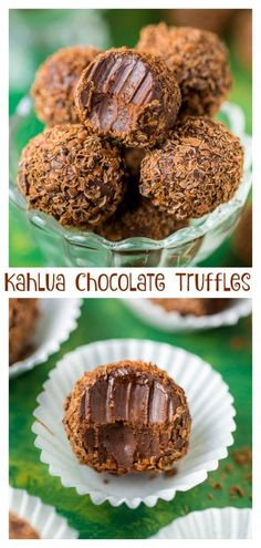 Chocolate Truffles (Video) - Baker by Nature Kahlua Chocolate Truffles (Video)Kahlua Chocolate Truffles (Video) Candy Recipes, Baking Recipes, Cookie Recipes, Dog Recipes, Köstliche Desserts, Delicious Desserts, Dessert Recipes, Cinnamon Desserts, Fancy Desserts