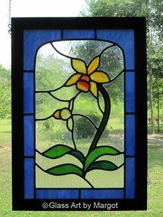 Framed Leaded Stained Glass Flower Panel by GlassArtByMargot