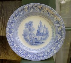 Early English Blue Transfer Ware Plate Holly by 4HollyLaneAntiques, $68.00