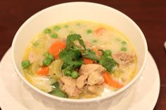 This is the best paleo chicken stew/soup ever!! I used almond flour and didn't add the peas. It is amazing!