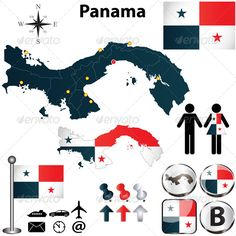 Map of Panama Vector of Panama set with detailed country shape with region borders, flags and icons. Package contains: EPS version), JPG pixels, RGB). Created: GraphicsFilesIncluded: VectorEPS Layered: No MinimumAdobeCSVersion: CS Tags: Balboa Map Vector, Vector Icons, Language Logo, Panama Flag, Graphic Art, Graphic Design, Clip Art, Information Graphics, Cartography